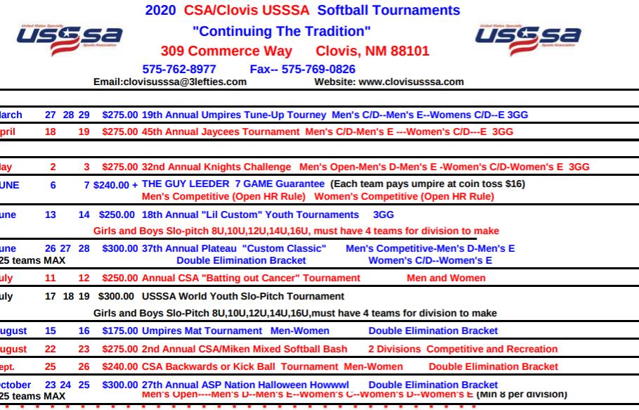 2019 CSA Tournament Schedule